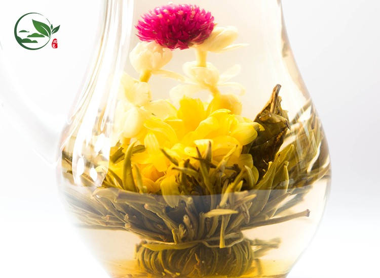 Shuang Long Xi Zhu Double Dragon Pearl Green Blooming Flower Tea Buds Like Seashell