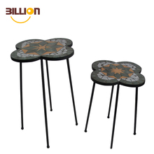 Set Of 2 Round Ceramic Outdoor Sturdy Flower Pot Mosaic Plant Stand