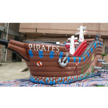 Outdoor brown pirate ship inflatable bouncer slide, commercial bouncer house for kids