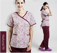 Whoesale China health and medical hospital fashion printing design nurse medical scrubs uniform