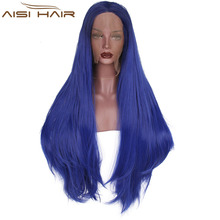 The Best Selling Lace Front Wig Long Straight Ombre Blue Hair Synthetic Lace Front Wigs For Black Women