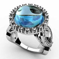 Buy 2014 wholesale fashion nail ring design jewelry aquamarine ...