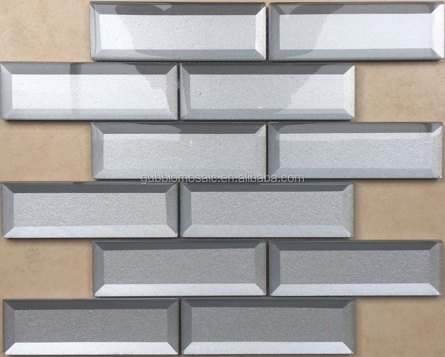 3D effect geometrical pattern glass mosaic tile P8GL811SQ