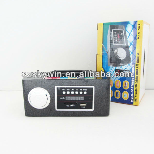 support FM radio /USB/SD reader tiny speaker Mini Wood