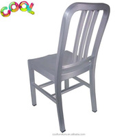 Factory Aluminum Modern Navy Dining Metal Brushed Anodized Banquet Navi Aluminum Dining Square Outdoor Stacking Patio Chair