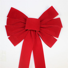 Wholesale Christmas Day Use And Gift Packing Pre Made Red Velvet Ribbon Bow