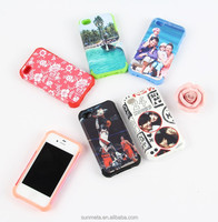 sublimation printing phone case with silicon cover for IPHONE4