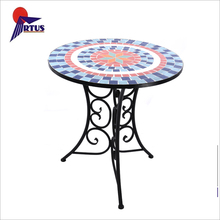 Premium quality cheap fancy garden furniture ceramic round dining mosaic outdoor table