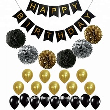 EasternHope Black and Gold Birthday Decoration With Banner Paper Pom Poms Birthday Balloons Birthday Party Supplies Decorations