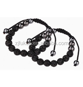 mens black crystals clay beads braided rope healthy hematite beads bracelets