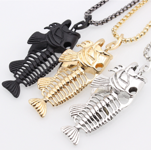 Fashion Stainless Steel Men Skeleton Fish Bone Fishing Pendant Necklace and Keychain
