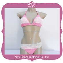 Wholesale sexy girls swimwear sexy high pink lace girl sexy nude bikini