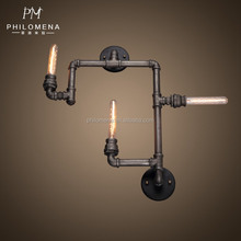 Water pipe lamps indoor edison bar iron light zhong shan supplier wall lamp