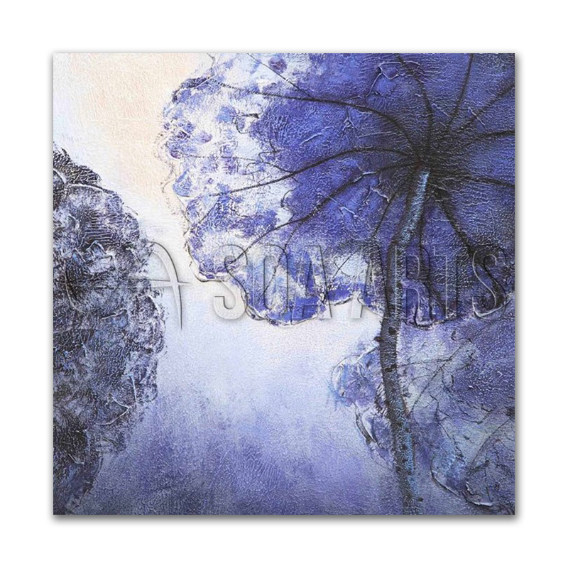 Impressionism 3D Blue Big Louts Flower Wall Art
