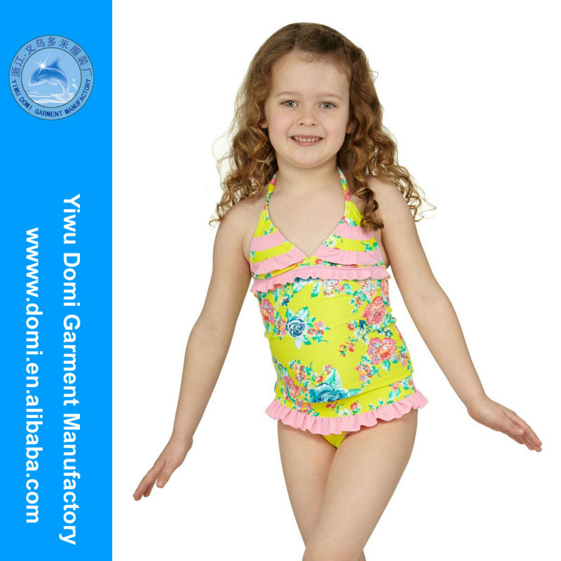 Domi SW1102 baby swimwear for kids,usa sex girl/children naturist photos in ruffled brightly coloured tankini swimsuit