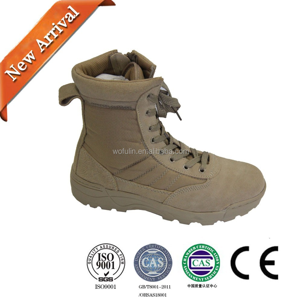 Genuine leather combat desert army military boot factory in China