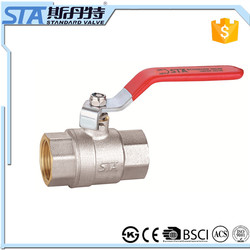 "ART.1015 Red Plastic Coated Metal Lever Handle Full Port Equal Female Thread 2"" BSP PT Brass Ball Valve for water gas oil air"