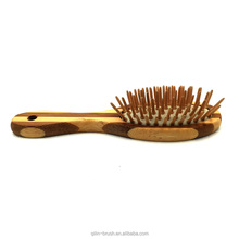 Factory price scalp massage brush wooden hair massage brush bamboo bristle paddle comb