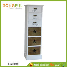 French style white wooden chest of drawers