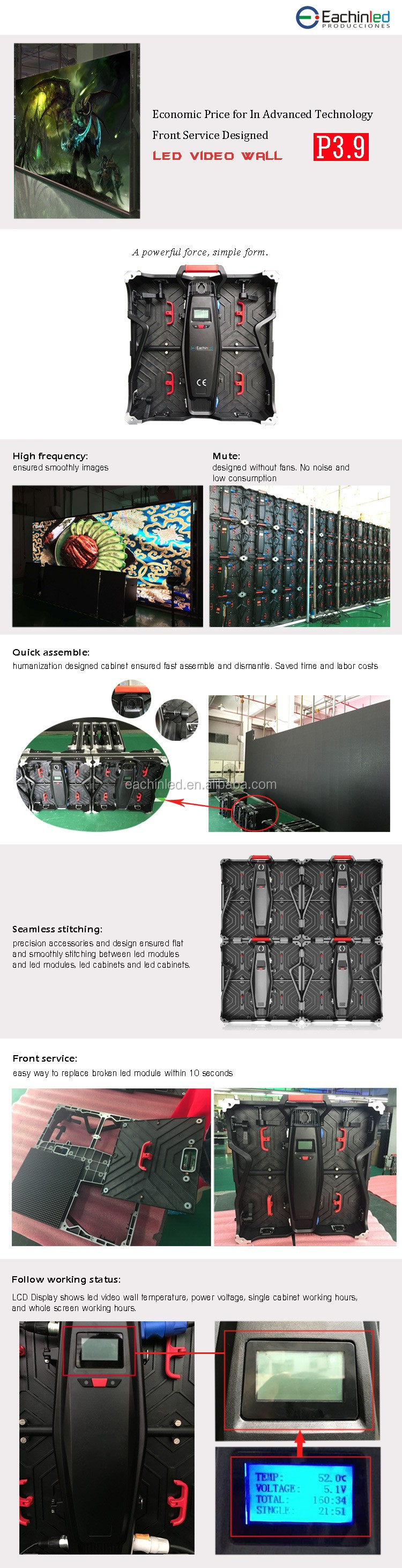 P3.91/P4.81 Front service disassemble rental outdoor led screen