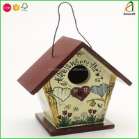 Ornamental Wooden Painted Birdhouse Feeder For