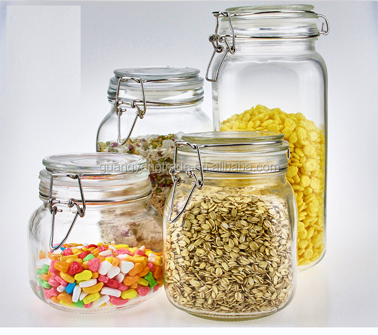 Top selling food grade clear round wide mouth glass jar with hinged lids