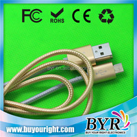 Metal shell fabric micro usb cable braided, micro cable usb for samsung mobile phone
