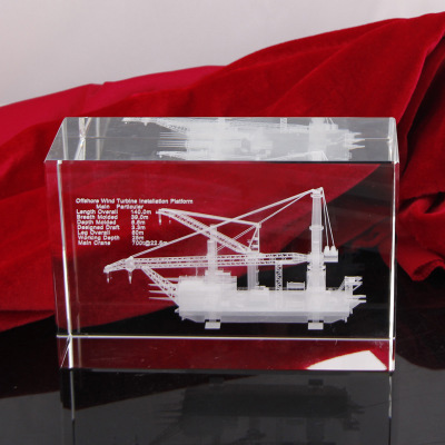 Customized souvenir 3d laser sailing boat cube crystal