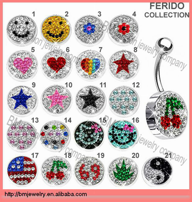 kinds of logo crystal belly button rings piercing body jewelry