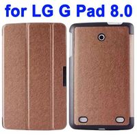 Silk Pattern 3-folding Flip Stand Leather Case for LG G Pad 8.0 V480