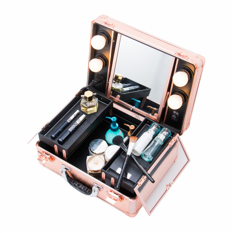 Koncai Best Selling rose gold Vanity Case with LED Lights Aluminum Suitcase Portable Makeup Case