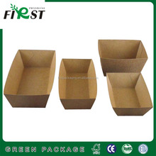 Recycled Brown Kraft Paper Food Box/kraft paper boat shape food tray fried chicken box fry food box