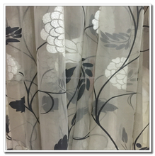 Flocking Embroidery Printed Organza Fabric for Curtain