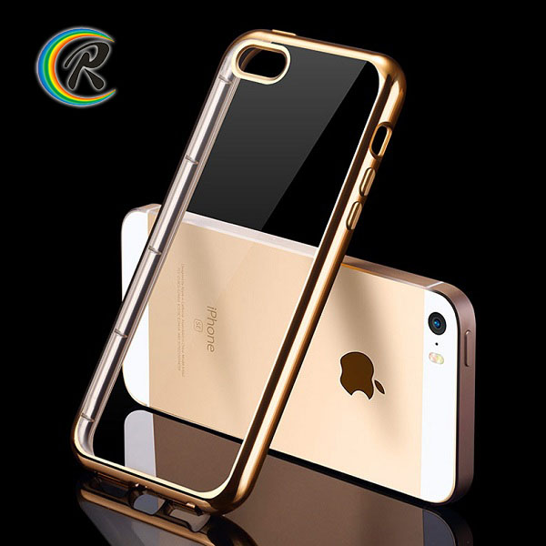 Cell phone accessories for iphone case for iPhone5c ultra thin transparent crystal plating bumper tpu soft case cover