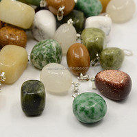 Mixed One Gem Stone Pendants with Silver Plated Bails(GP091-S)