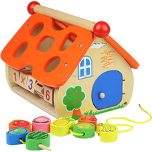 kids Fruit Wisdom House Porous pairing baby wood montessori toys child shape cognition fun intelligence educational wooden toy