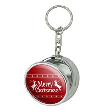 Merry Christmas Holiday Reindeer Portable Travel Size Pocket Purse Ashtray Keychain with Cigarette Holder