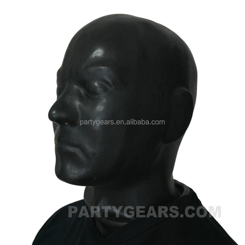 Black Latex Rubber Gummi Hood Long Neck Head Cosplay Fetish Anatomical Male Mask Fetish Eye blind Mask Hood