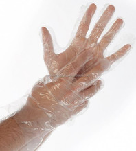 PE plastic household use light safety transparent disposable paper gloves