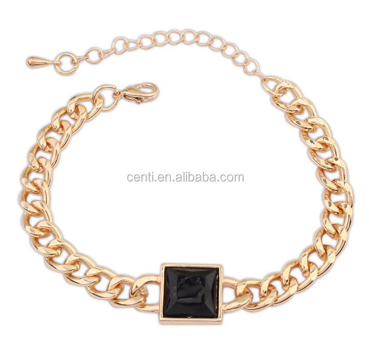 Black Square Crystal Charm Chunky Chain Bracelet Gold Chunky Chain Woman Bracelet