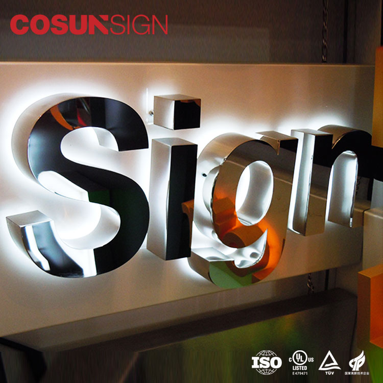 Manufacturer 3D Backlit Led Light Sign Halolit  LED Channel Letter Signage