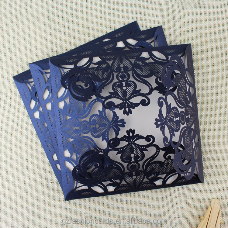 Luxury Navy Blue Laser Cut Wedding Invitations