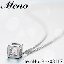 Simple elegant geometric box cubic cube zirconia CZ white gold square diamond necklace pendant for girls gift