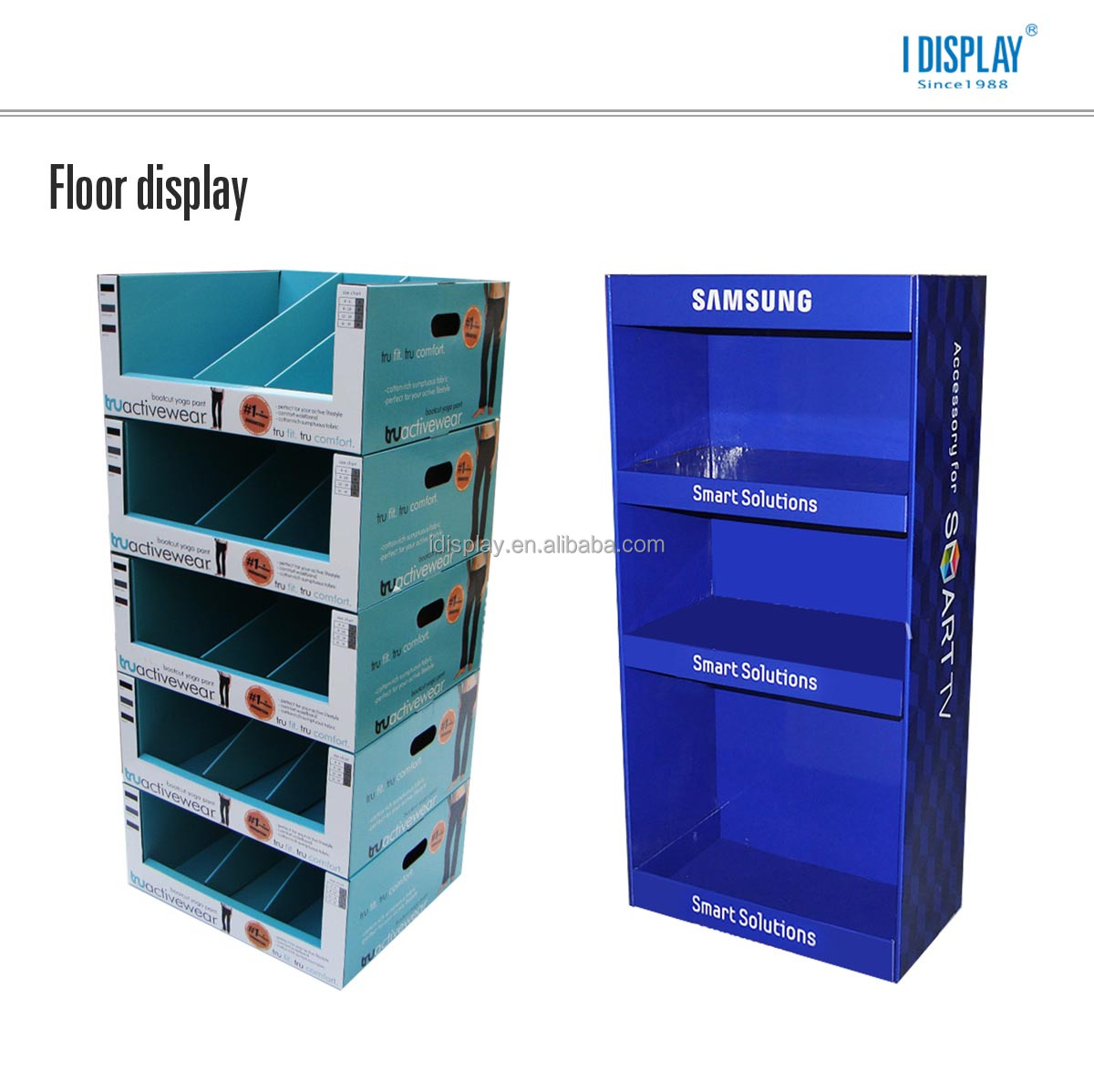 free standing cardboard cosmetic floor display stands