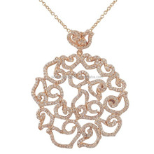 Xuanghuang Sterling Silver Cubic Zirconia Lacy Design Filigree Large Pendant Necklace