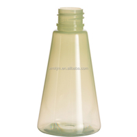 Cone shape recycled portable clear pet bottle for shampoo