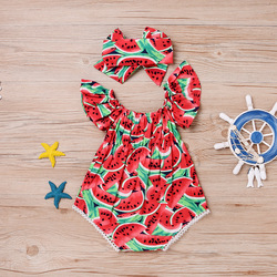 XL0063 infant toddlers clothing baby romper red watermelon baby bodysuit clothing