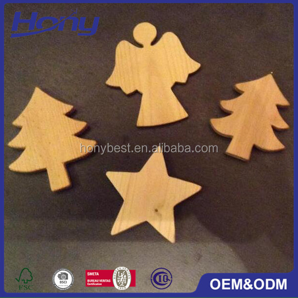 Unpainted Small Engraved Chinese Bulk Blank Wood Christmas Ornament for Sale