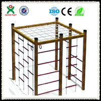 Jungle gym China wholesale climbing frames wooden outdoor wooden playsets for kids QX-077C