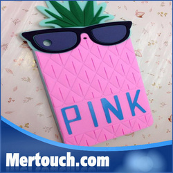 cute pineapple silicone cover for ipad air case ,for ipad air cover case , for ipad air silicone cover case